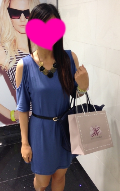 Cool Shoulder Tee Dress in Blue